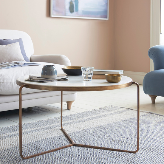 Low Jinks brass and marble coffee table