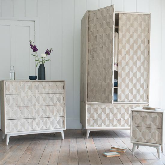 Orinoco hexagonal patterned wood bedroom furniture