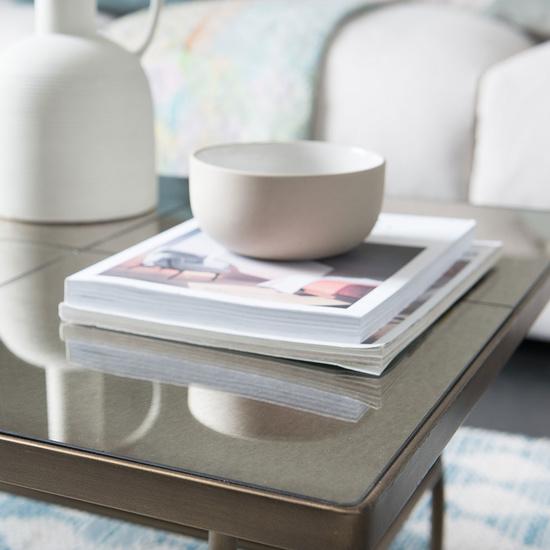 Cappuccino brass mirror coffee table