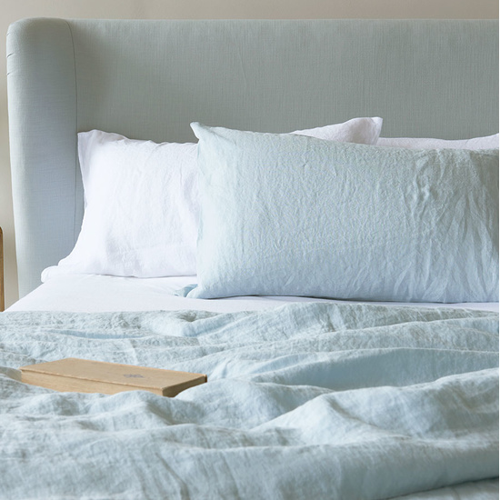 Lazy Linen bed linen in Duck Egg