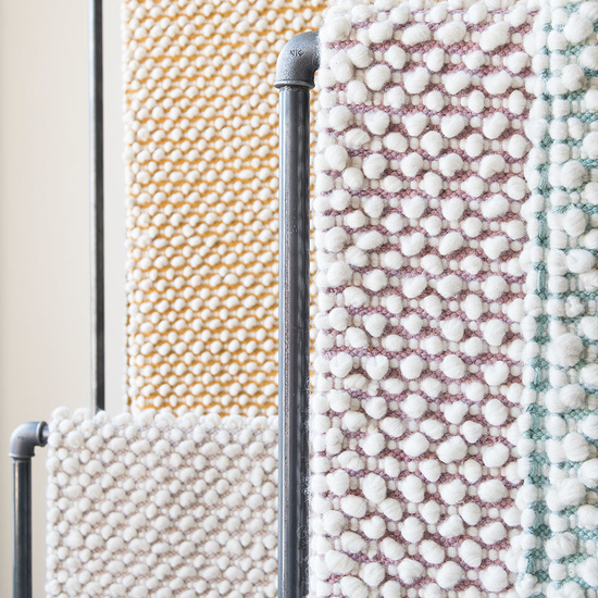 Bobble woven patterened coloured rugs