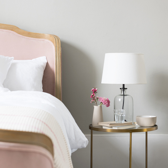 Joelle french styled upholstered wood bed