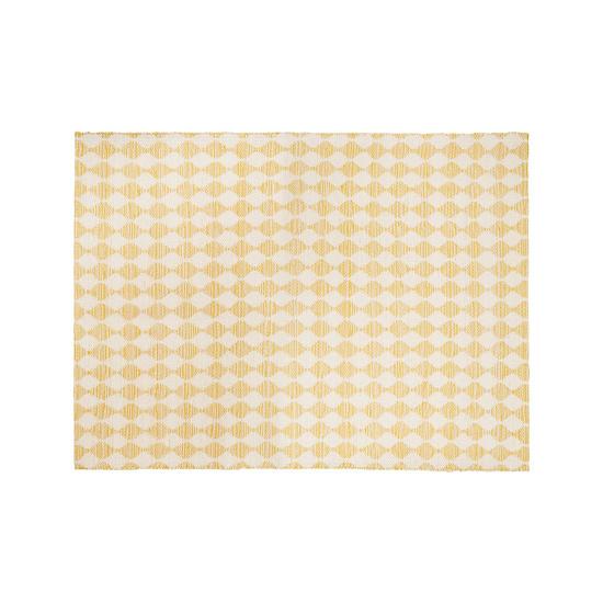 Waves patterned floor rug in yellow