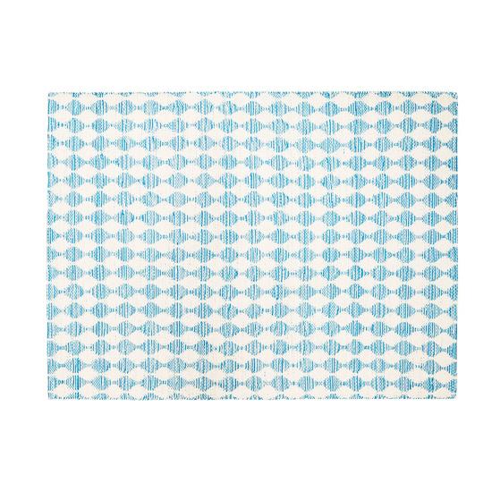 Waves patterned floor rug in Blue