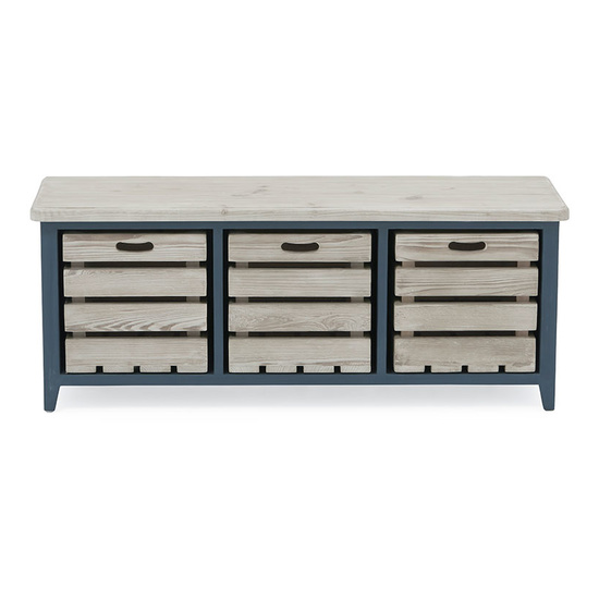 Welly inky blue wooden storage bench