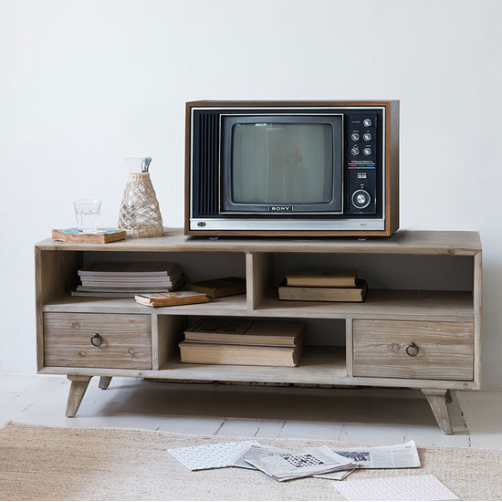 Knockout reclaimed wood TV stand