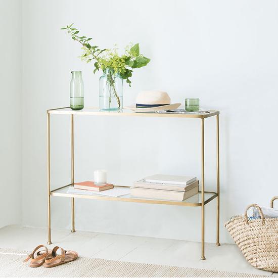 Wonder Full brass glass console table