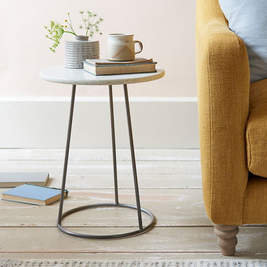 Little Scamp marble terrazzo top side table