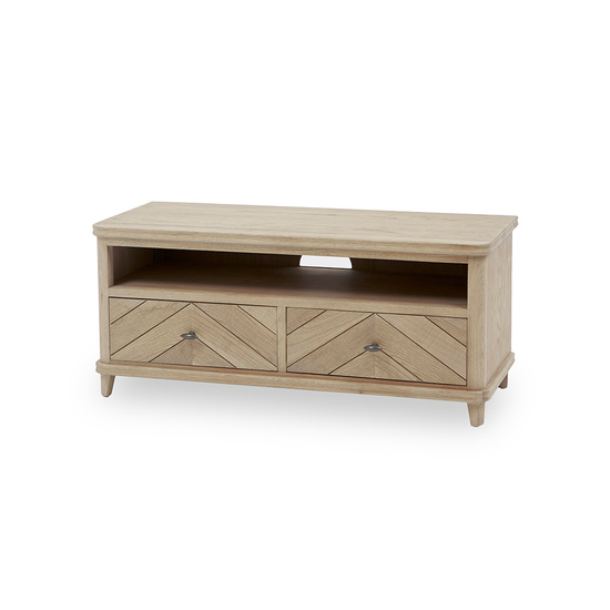 Telly Flapper oak parquet TV stand angled