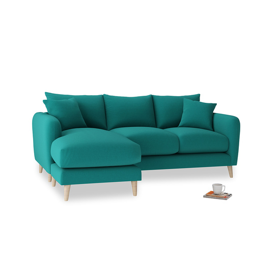Indian Green Brushed Cotton Squishmeister LA LH Chaise