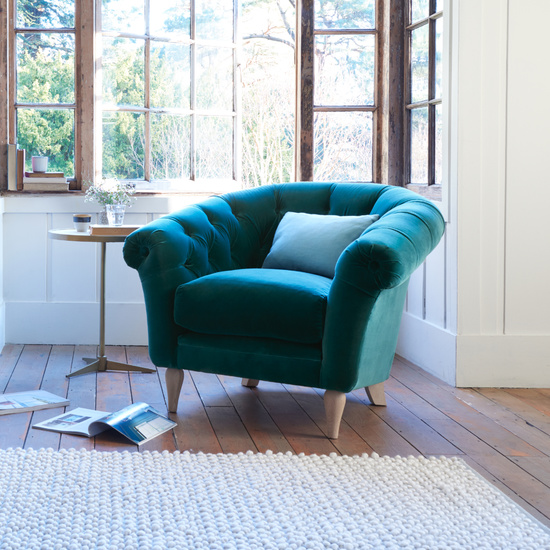Tubbie comfy upholstered bucket armchair