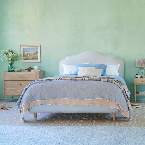 Sugar Puff French Style Padded Upholstered Headboard Bed