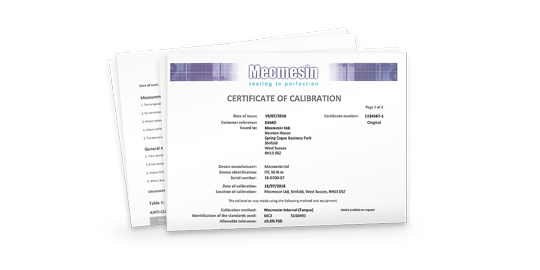 Mecmesin issued sensor and device calibration certificates