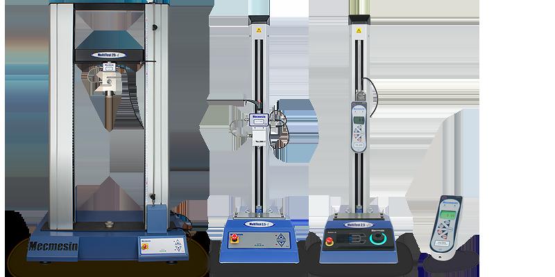 Gama de equipos de prueba de fuerza Mecmesin de algunos sistemas e instrumentos