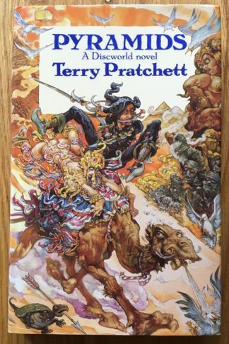The book cover of Pyramids: A Discworld Novel by Terry Pratchett. In dust jacketed hardcover black.