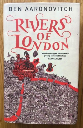 The book cover of Rivers of London by Ben Aaronovitch. In dust jacketed hardcover red.
