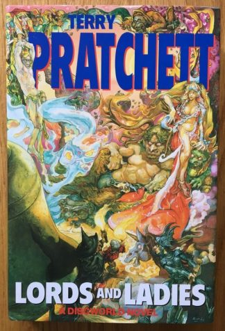 Lords and The book cover of Ladies by Terry Pratchett. In dust jacketed hardcover black.