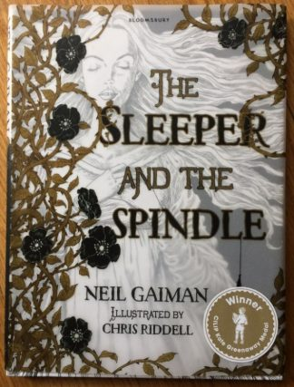The book cover of The Sleeper and the Spindle by Neil Gaiman and Chris Riddell. In hardcover.