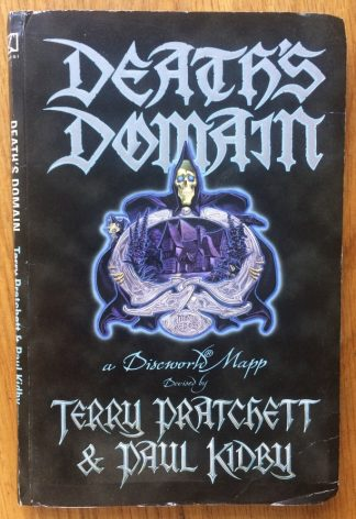 The book cover of Death's Domain: A Discworld Mapp Terry Pratchett and Stephen Briggs, and illustrated by Paul Kidby. In softcover black with death.