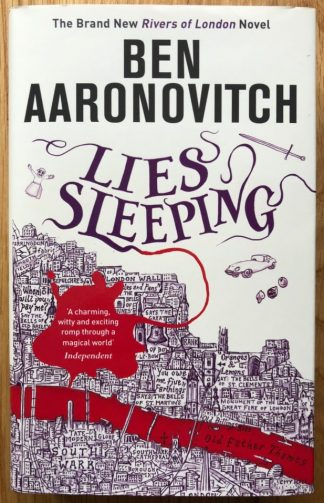 The book cover of Lies Sleeping by Ben Aaronovitch. In dust jacketed hardcover red.