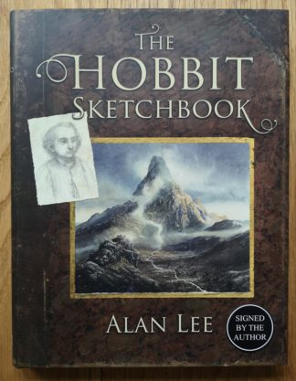 The cover of a signed copy of 'The Hobbit Sketchbook' by Alan Lee
