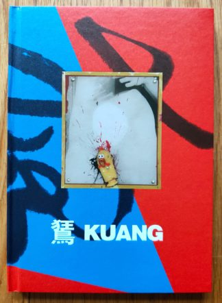 The cover of Kuang by Birdhead. In hardcover blue and red with a rubber chicken.