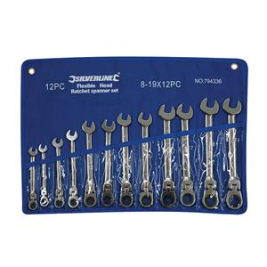 Flexible Head Ratchet Spanner Set 12pce