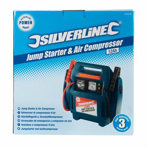 12 A Silverline 234578 Silverstorm Jump Starter and Air Compressor
