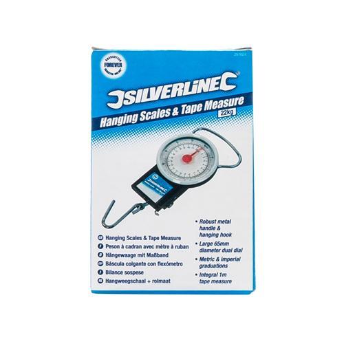 Silverline 251024 H/ängewaage mit Ma/ßband 22 kg
