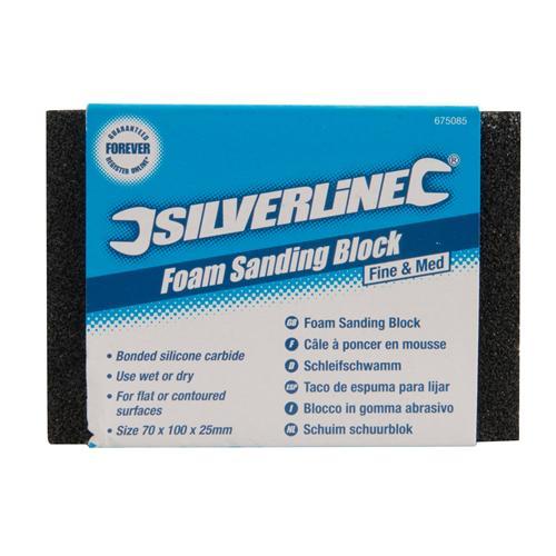 675085 Silverline Fine Med Foam Sanding Block Power