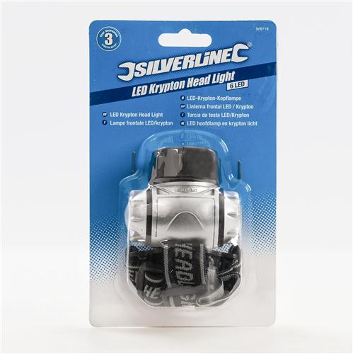 Silverline 868718 Lampe frontale LED//krypton 6 LED