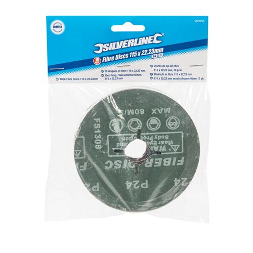 115 x 22,2 mm 10er-Pckg Silverline Fiberschleifscheiben 60er-Körnung