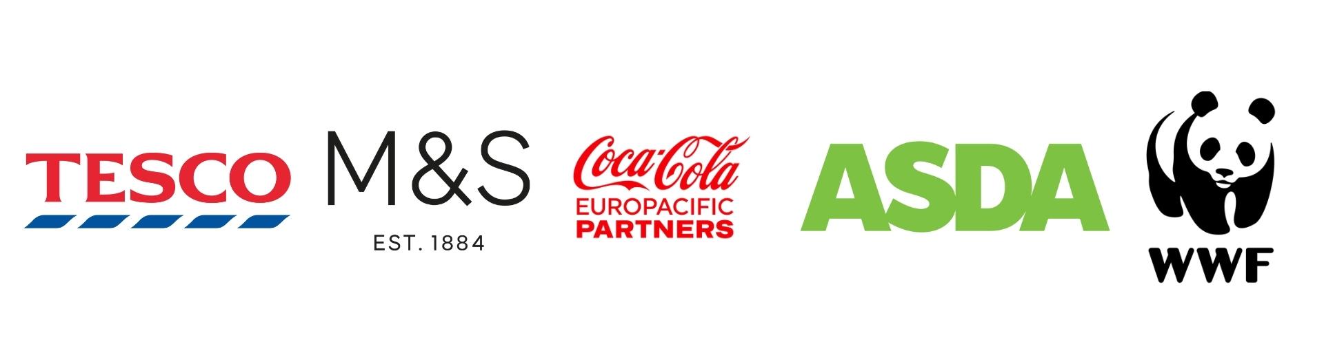 Logos for Tesco, M&S, Coca Cola Europacific, Asda, and WWF