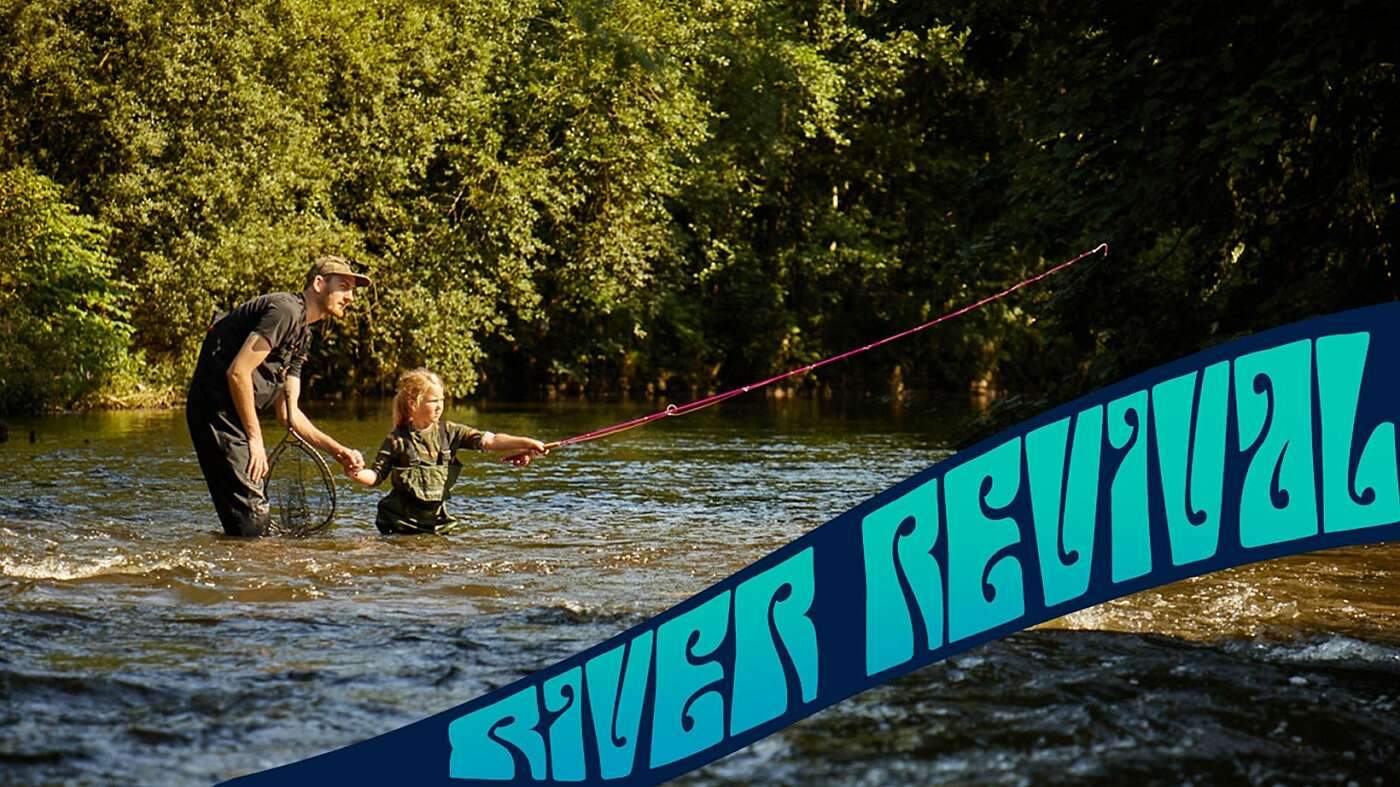 river revival text on image of child fishing