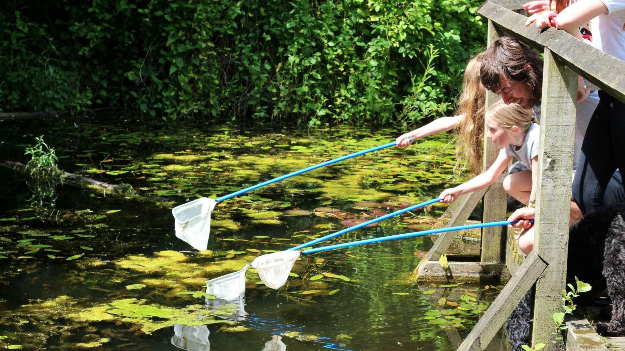 children with fishing nets
