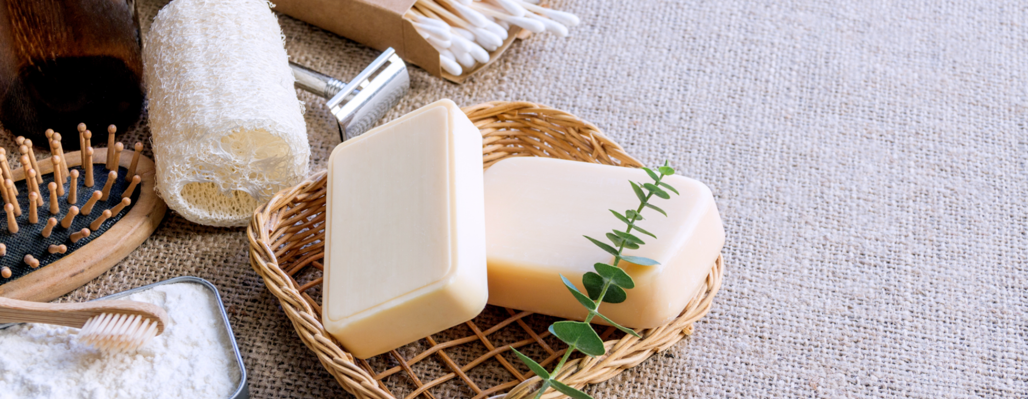 A range of plastic-free household products such as soap, cotton wool buds, and toothbrushes