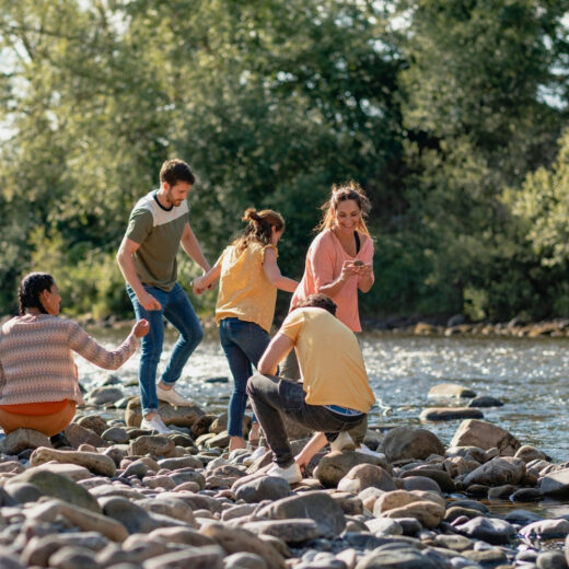 Group of friends by river