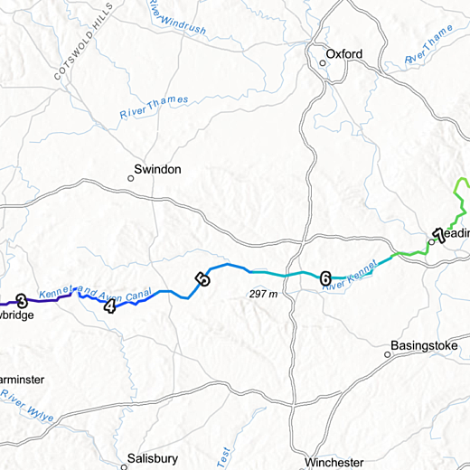 map of journey for paddle boarders from Bristol to London