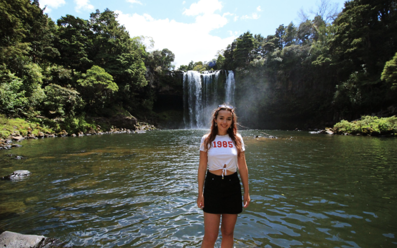 Emily Cooper by waterfall