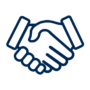 An icon depicting a handshake