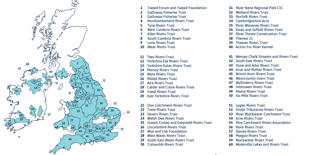 map of Rivers Trusts