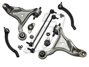 Volvo S60 Front Left and Right Suspension Control Arms, Tie Rod Ends and Links