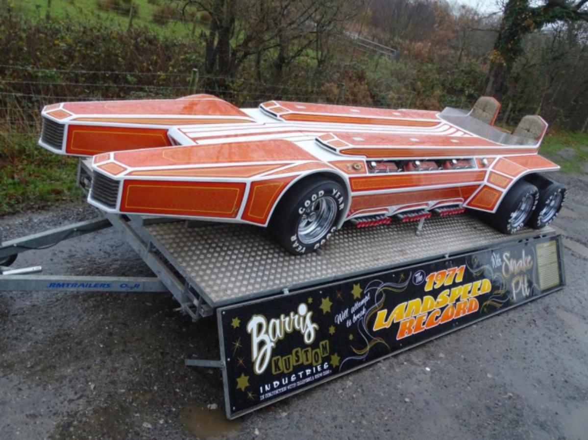The sextet V8 George Barris SnakePit dragster is up for sale!