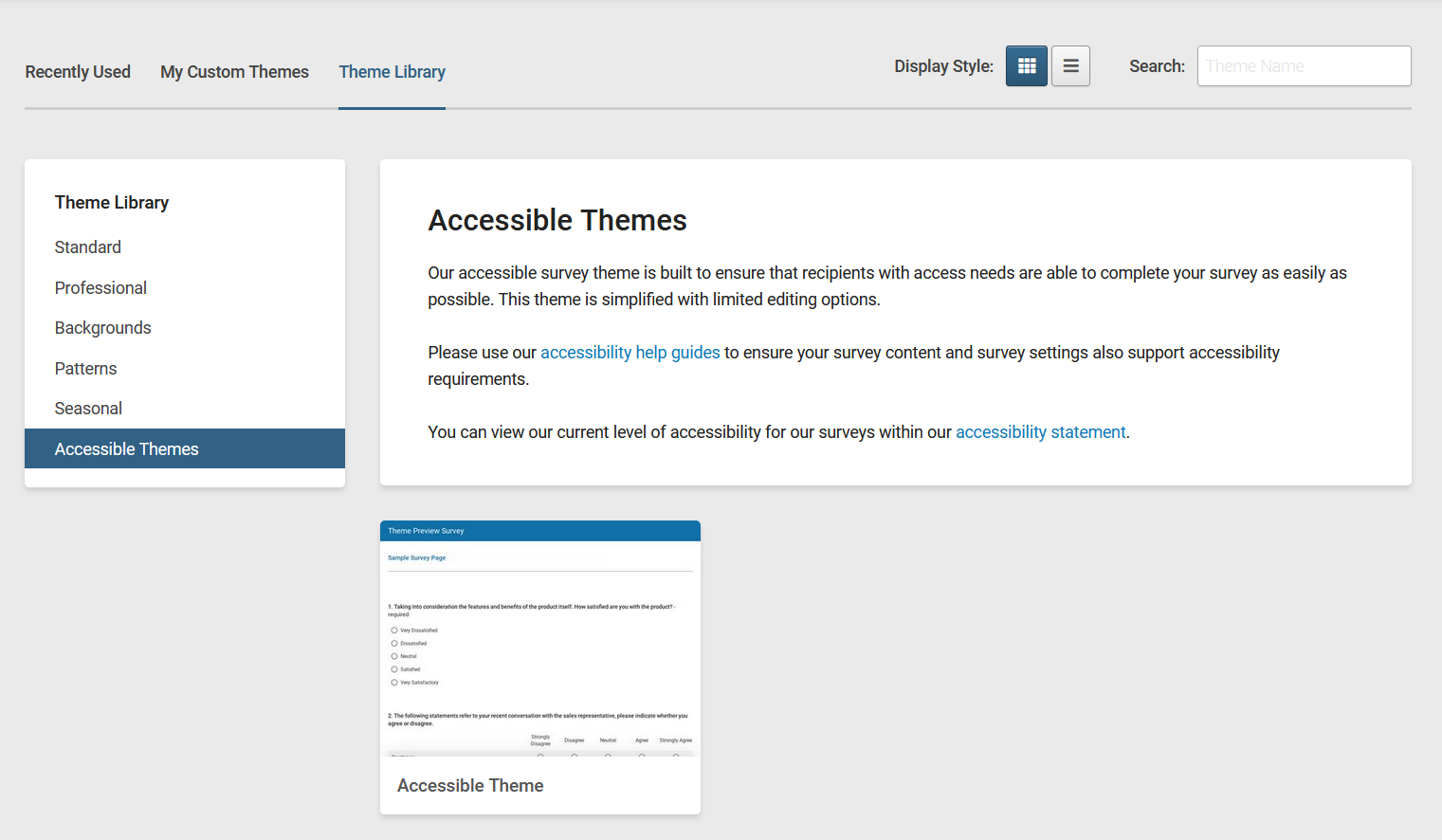 "The SmartSurvey Theme Library with the ""Accessible themes"" category highlighted and the ""accessible theme"" selected in the category."