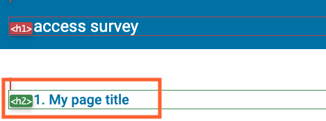 Screenshot of survey page with survey page title highlighted.