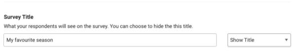 Survey title options – screenshot of Survey title in SmartSurvey admin