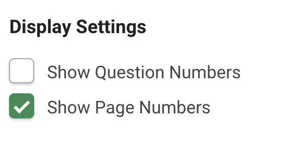 Enable question and page numbers - screenshot of display settings in SmartSurvey admin.