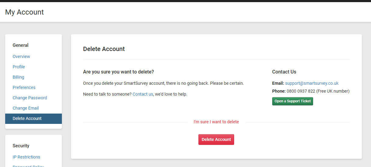 """screenshot of the """"delete account"""" in the smartsurvey app, showing the layout."""