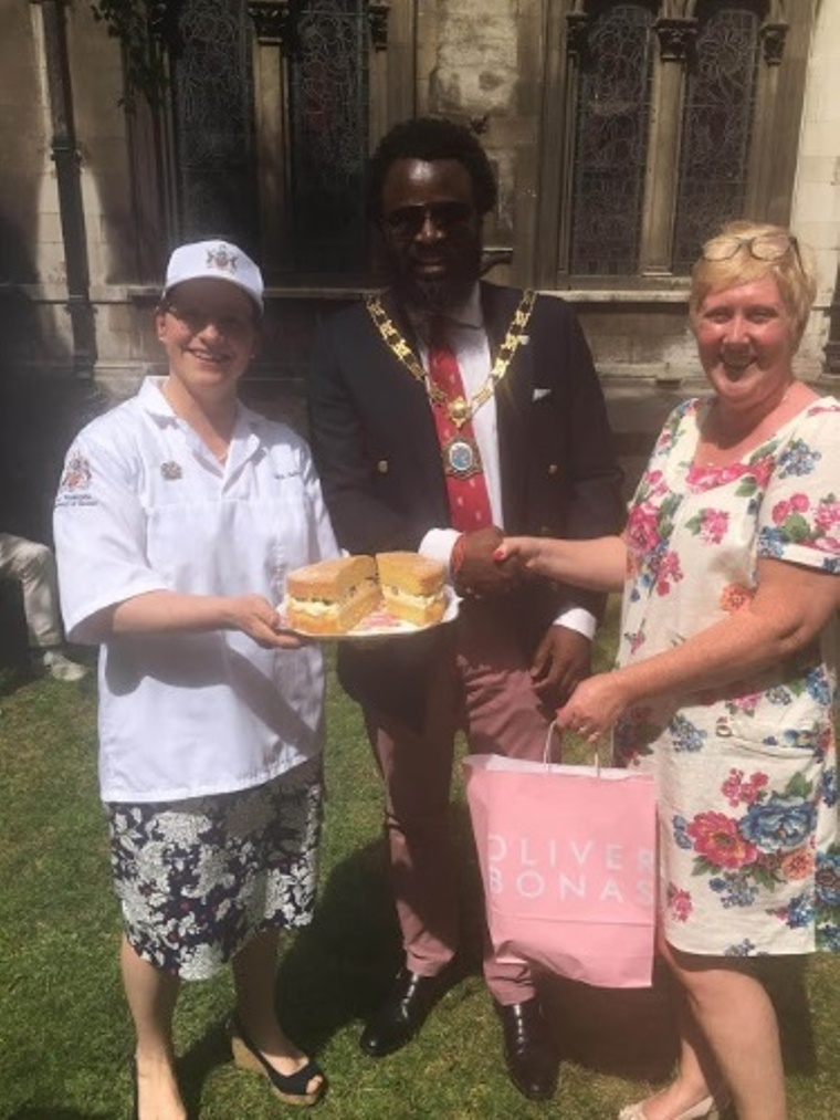 Liveryman Sara Autton with the Master of the Guild of Young Freemen and the winner of the Bake Off; Mrs. Susan Chadd