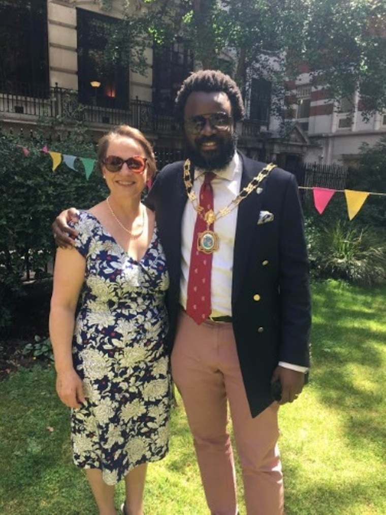 Liveryman Sara Autton with Anjola Adeniyi; Master of the Guild of Young Freemen